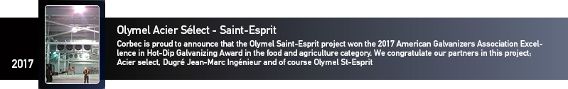 Galvanizing awards Saint-Esprit Olymel